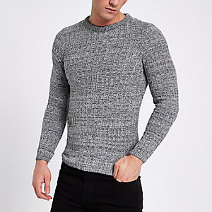 Grau melierter Muscle Fit Pullover