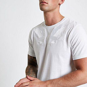 White Jack & Jones falcon embroidered T-shirt