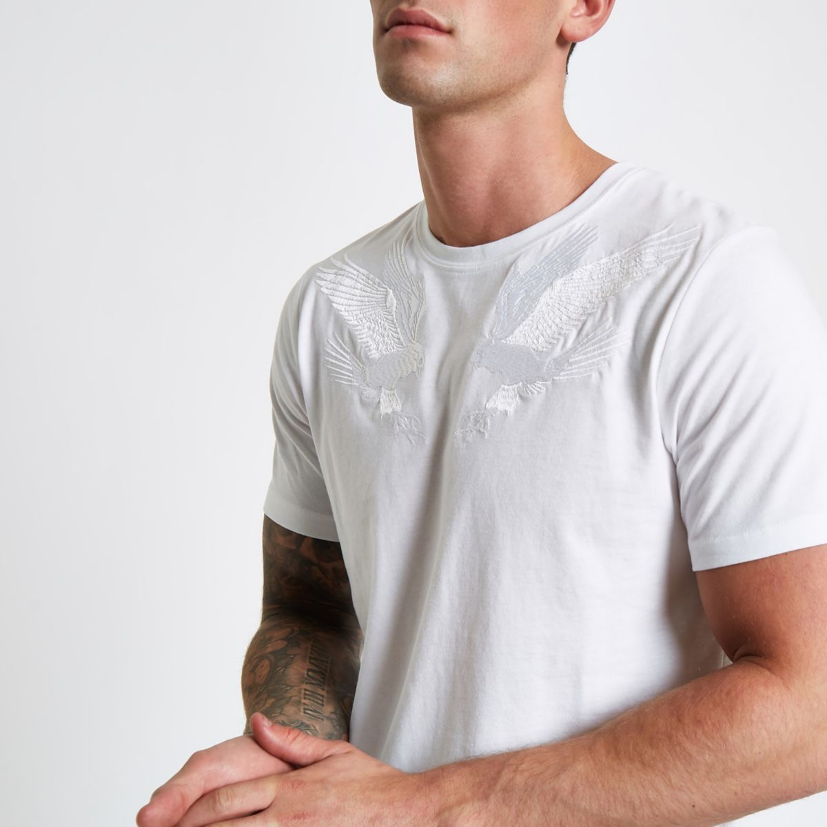 Jack & Jones white falcon embroidered T-shirt