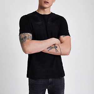 Black falcon embroidered print T-shirt