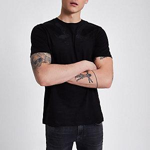Jack & Jones – T-shirt noir à faucon brodé