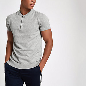 Jack & Jones Premium grey knit button T-shirt