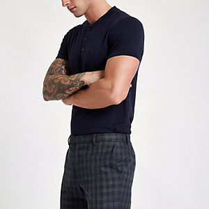 Navy Jack & Jones Premium knit button T-shirt