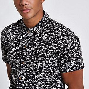 Jack & Jones Premium - Chemise noire à imprimé palmier