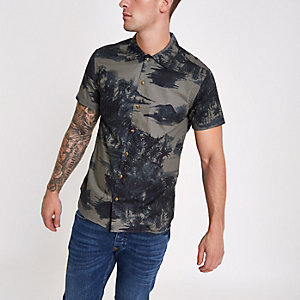 Jack & Jones marineblauw overhemd met Hawaïprint