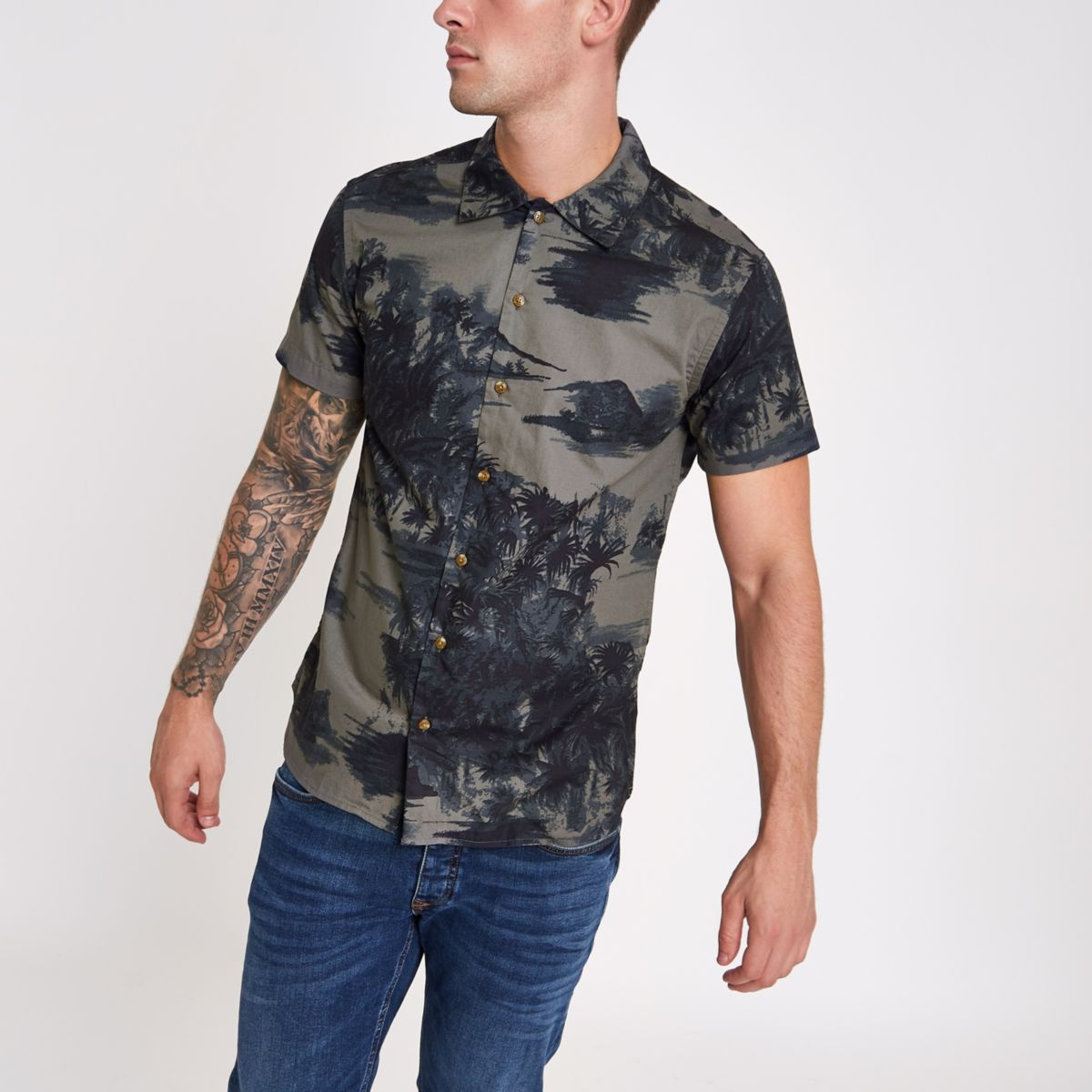 Jack & Jones navy Hawaii print shirt