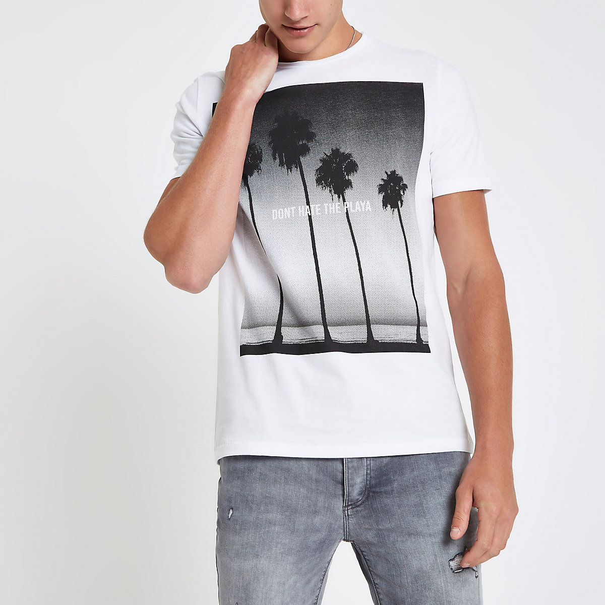 Jack & Jones Premium white beach T-shirt