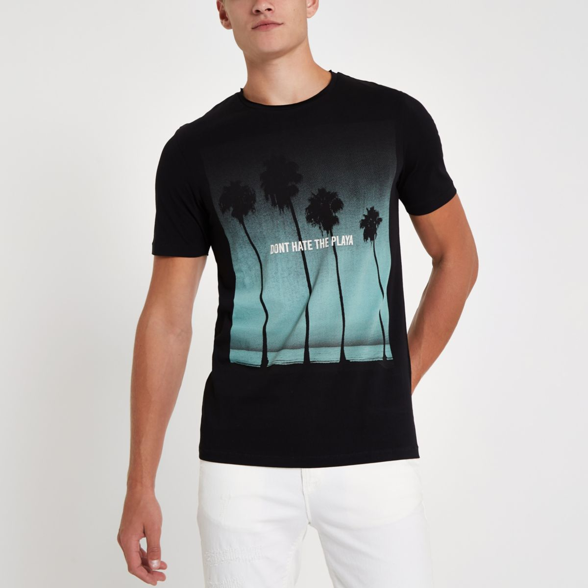 River Island Mens Jack and Jones Premium Black beachT-shirt Jack & Jones Outlet 100% Guaranteed Cheap Great Deals Manchester Cheap Online Buy Cheap Finishline 2018 New Sale Online EdVvdBUQ4