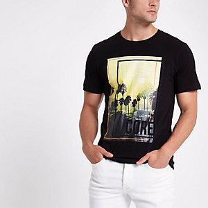 Jack & Jones black 'core' photo print T-shirt