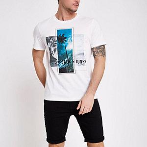 Jack & Jones Core white photo print T-shirt