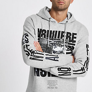 Jack & Jones Core – Sweat imprimé gris chiné à capuche