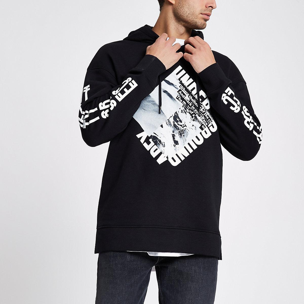 Jack & Jones Core black word print hoodie