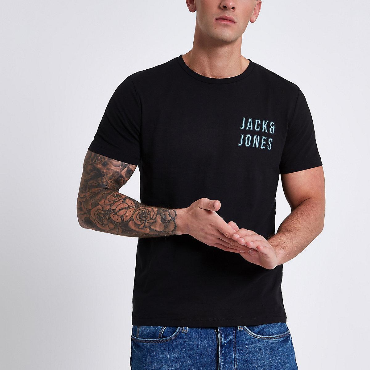 Jack & Jones Core black logo print T-shirt