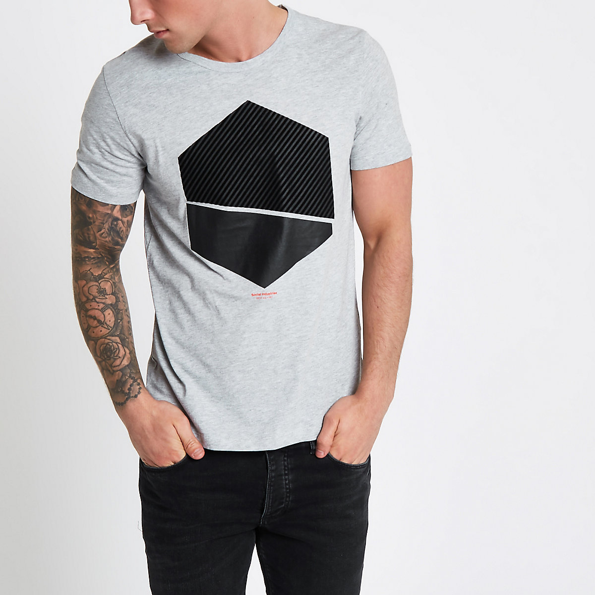 Jack & Jones Core grey print T-shirt