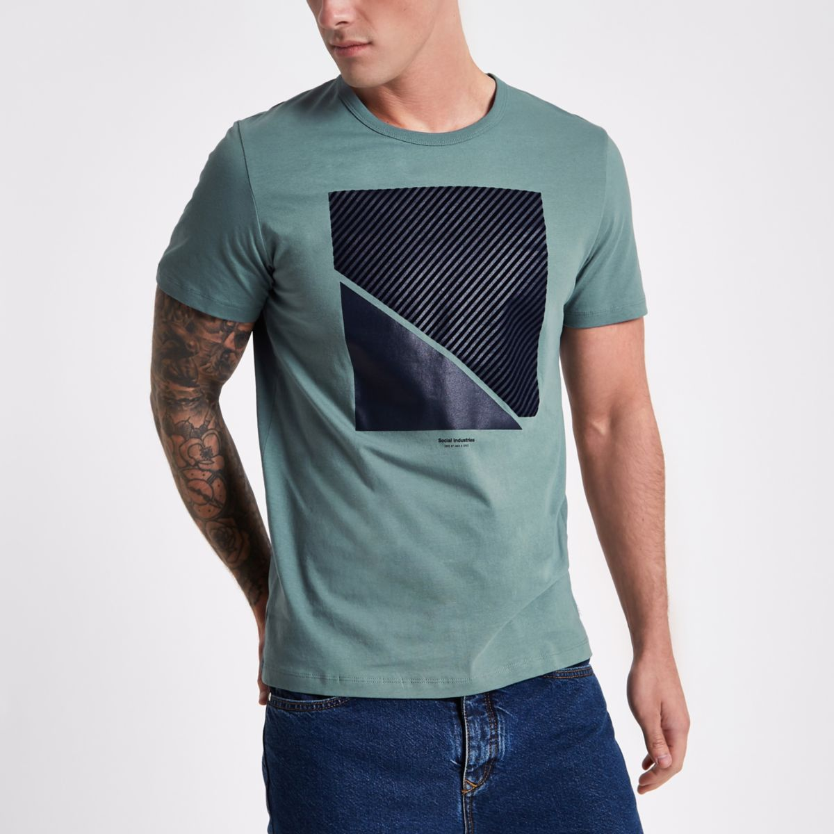 Jack & Jones Core green textured T-shirt