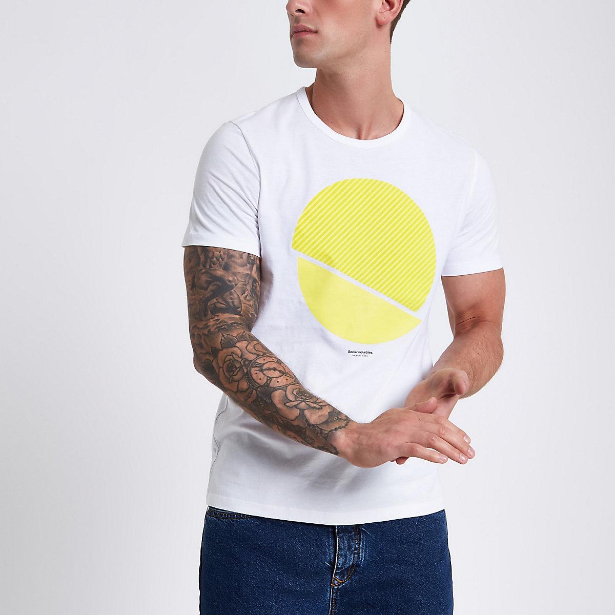 Jack & Jones Core white print T-shirt