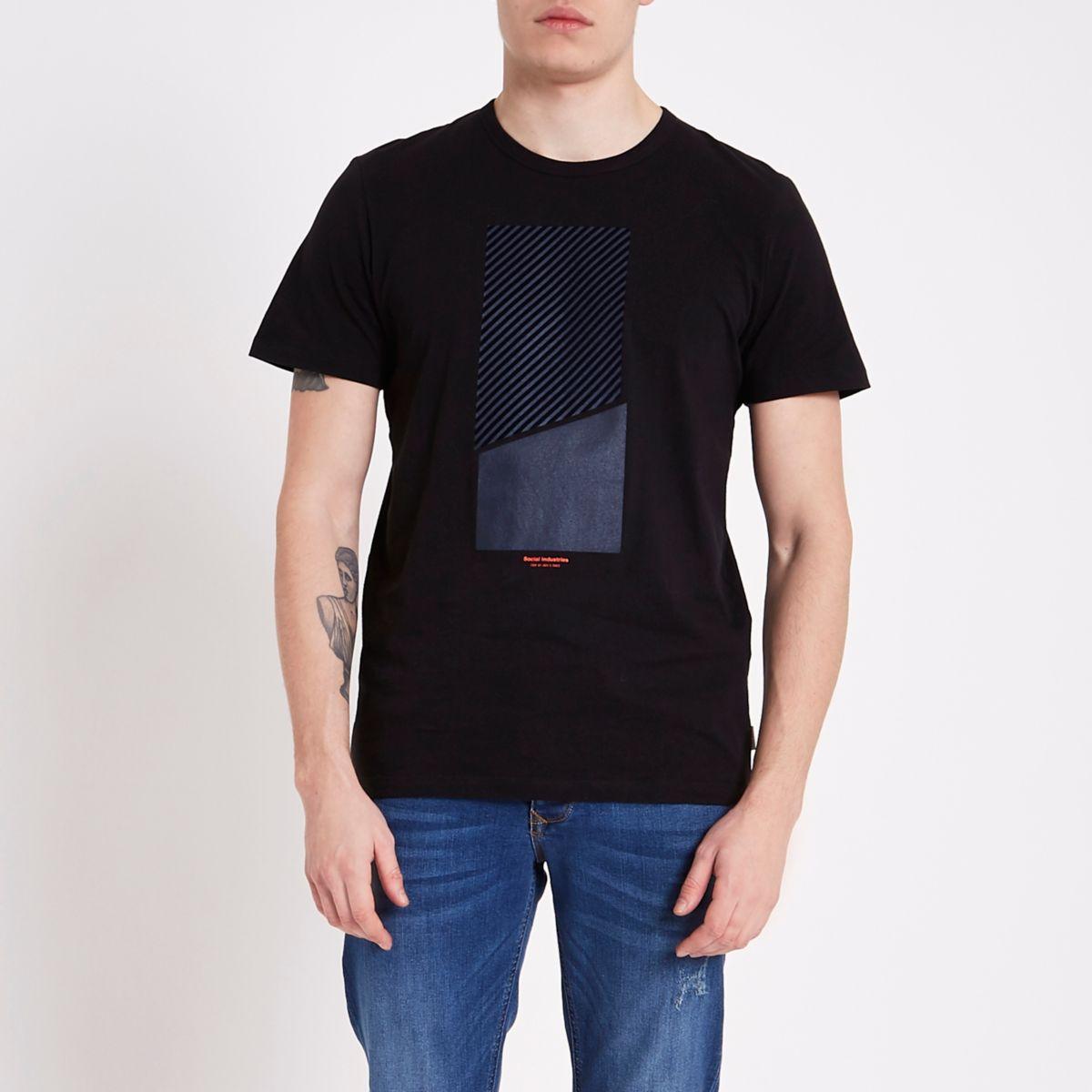 Jack & Jones navy stripe logo T-shirt