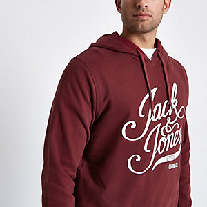 Jack & Jones burgundy print hoodie
