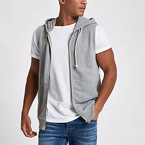 Jack & Jones Originals grey sleeveless hoodie