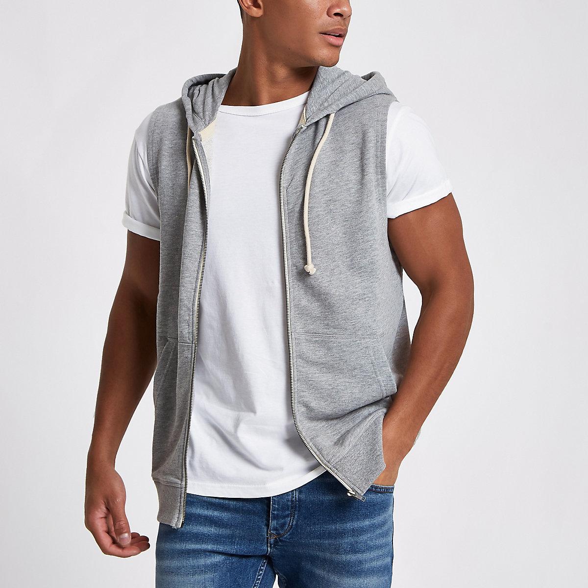 Jack & Jones Originals grey sleeveless hoodie
