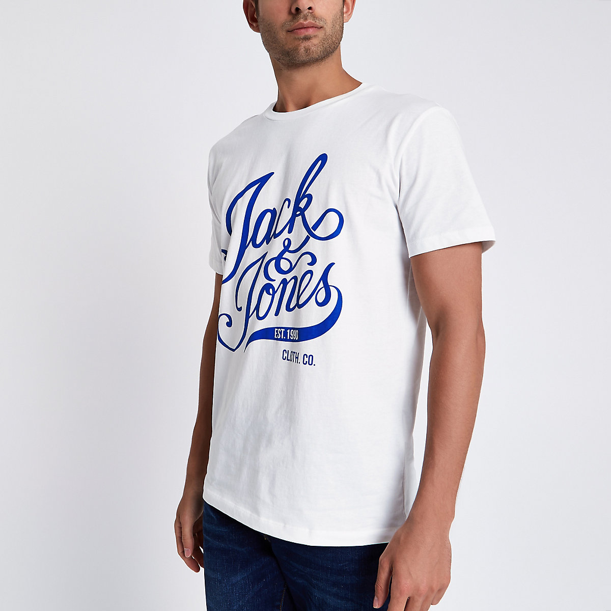 Jack & Jones white print crew neck T-shirt