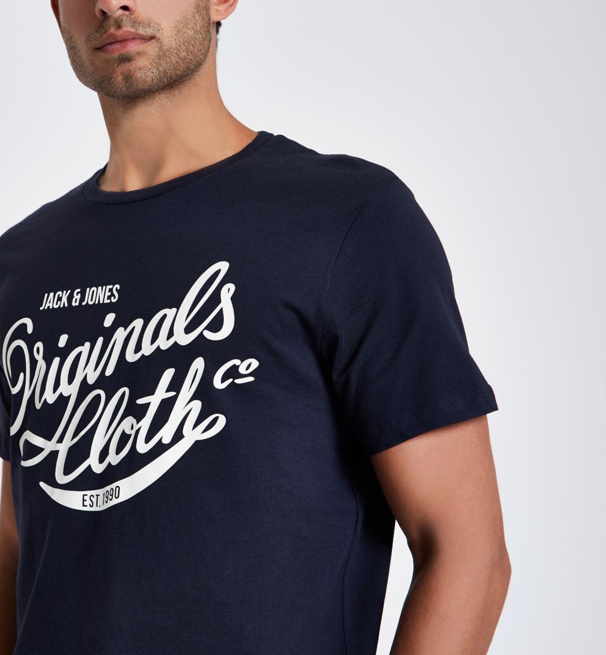 Jack & Jones navy print crew neck T-shirt
