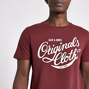 Dark red Jack & Jones short sleeve T-shirt