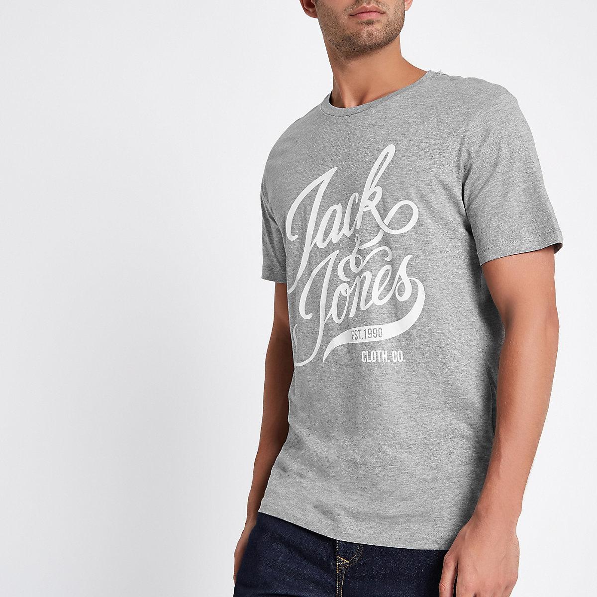 Jack & Jones grey print crew neck T-shirt
