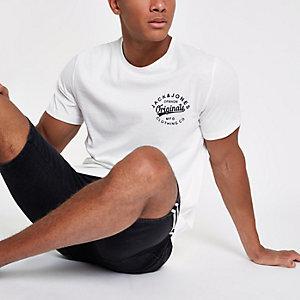 White Jack & Jones chest logo T-shirt