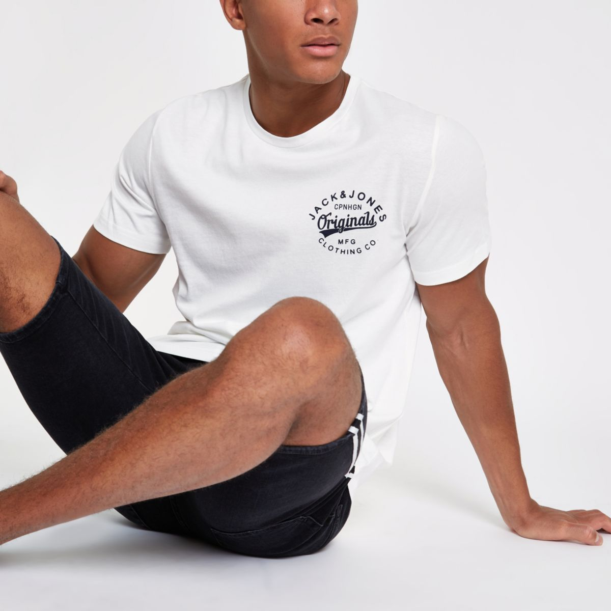 Jack & Jones white chest logo T-shirt