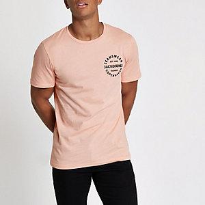 Jack & Jones roze T-shirt met logo op de borst