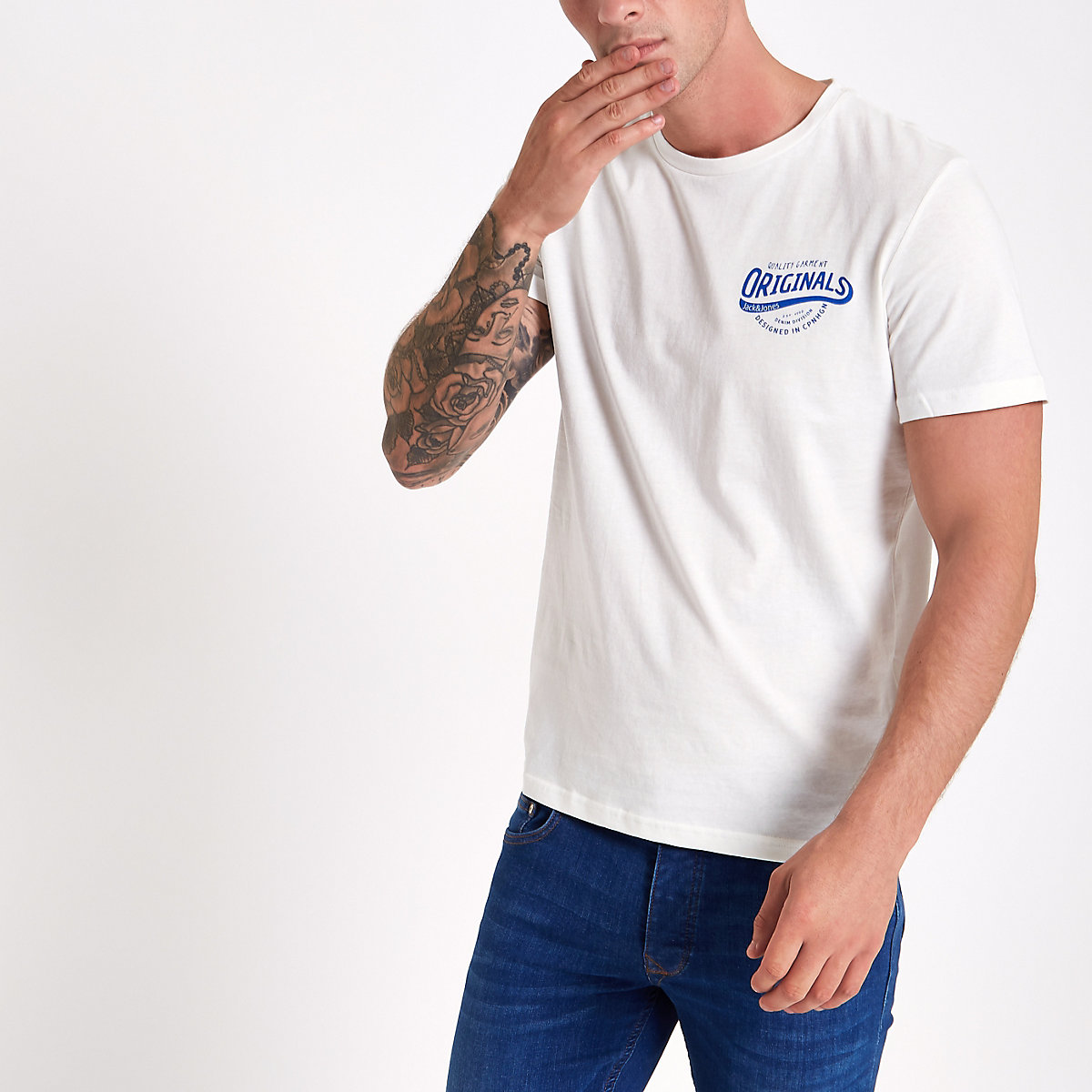 Jack & Jones Originals white print T-shirt