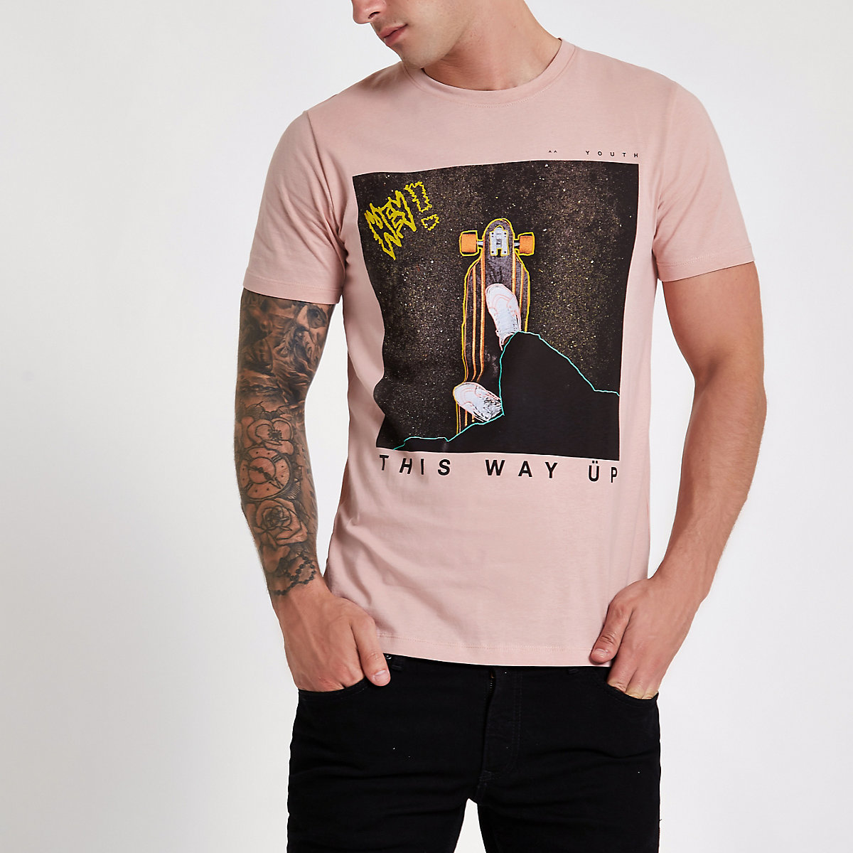 Jack & Jones Originals pink photo T-shirt