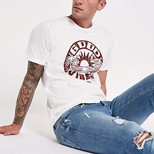 White Jack & Jones 'good vibes' T-shirt