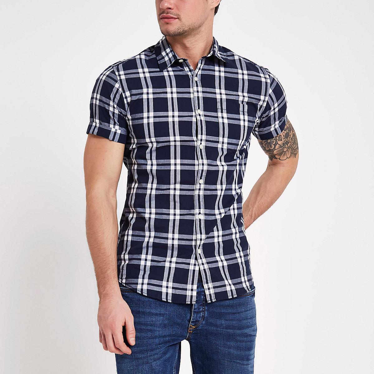 Jack & Jones Originals - Marineblauw geruit overhemd