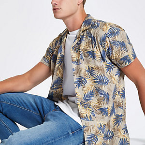 Jack & Jones Originals - Kiezelkleurig overhemd met Hawaii-print