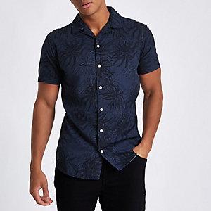 Jack & Jones Originals – Blaues, geblümtes Hemd