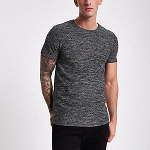 Jack & Jones – Dunkelgraues, strukturiertes T-Shirt