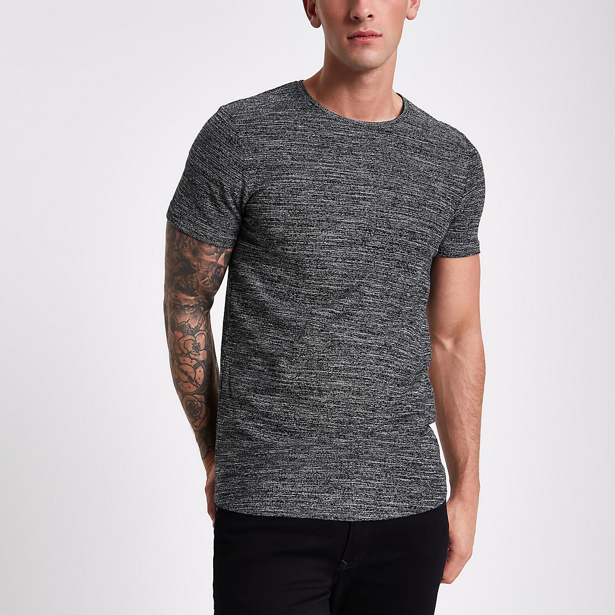 Jack & Jones dark grey textured T-shirt