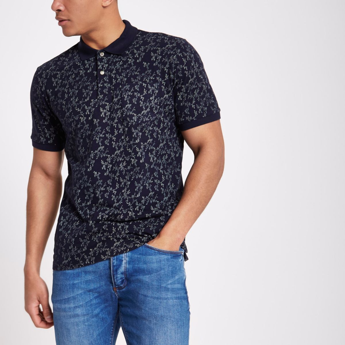 Jack & Jones Premium blue floral polo shirt