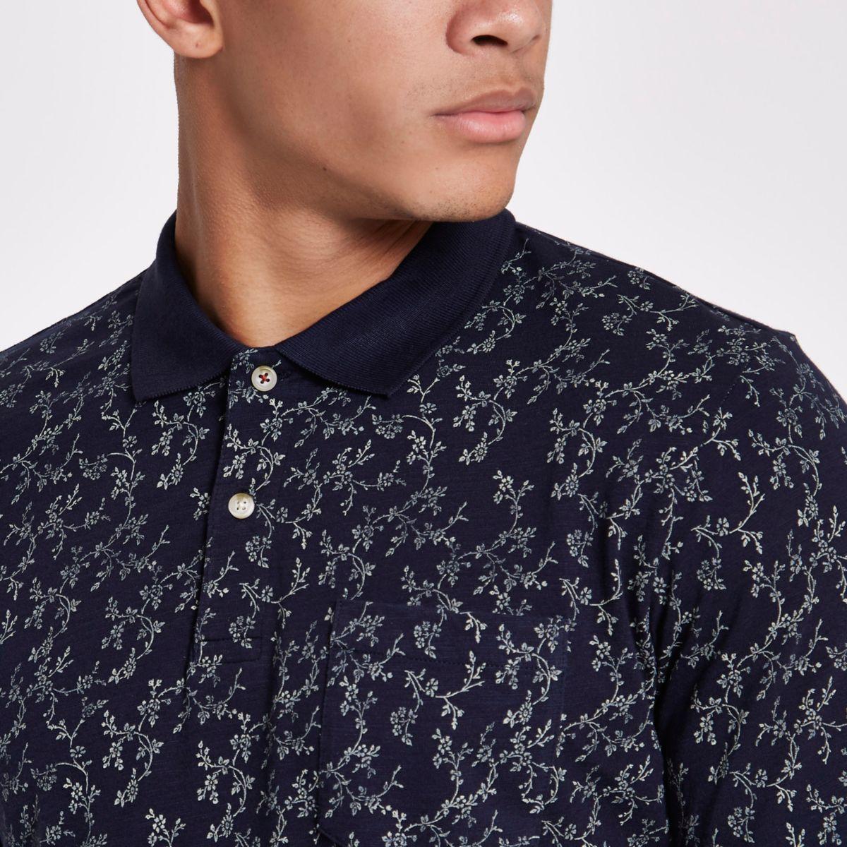 Jack shirt Premium amp; Jones floral blue polo ZwRZqAr