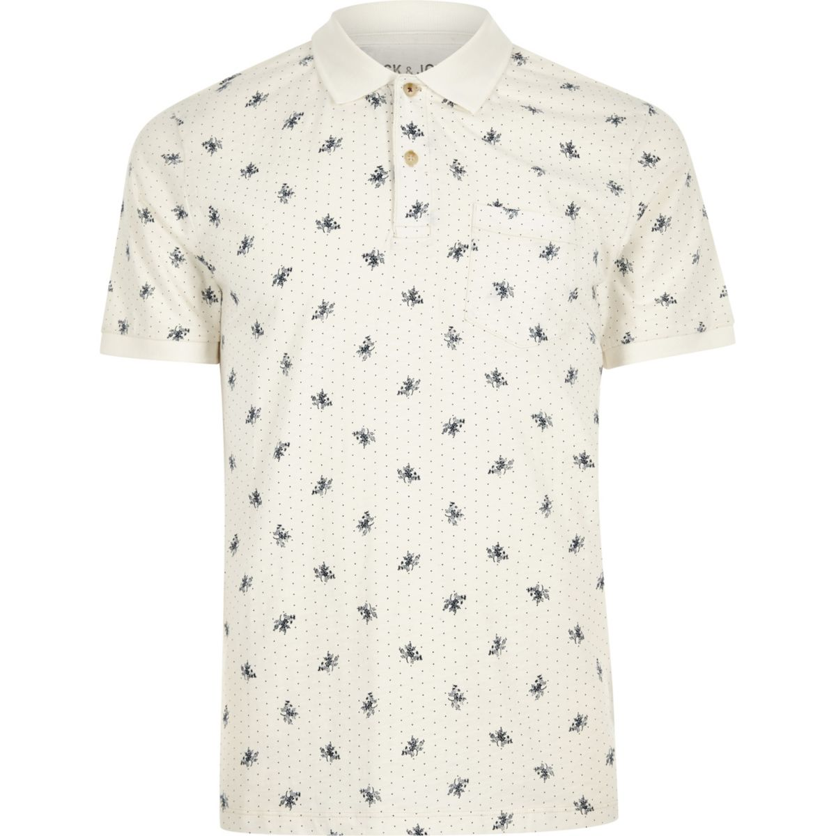 amp; shirt white print polo Jones Jack floral PR7qwTddY