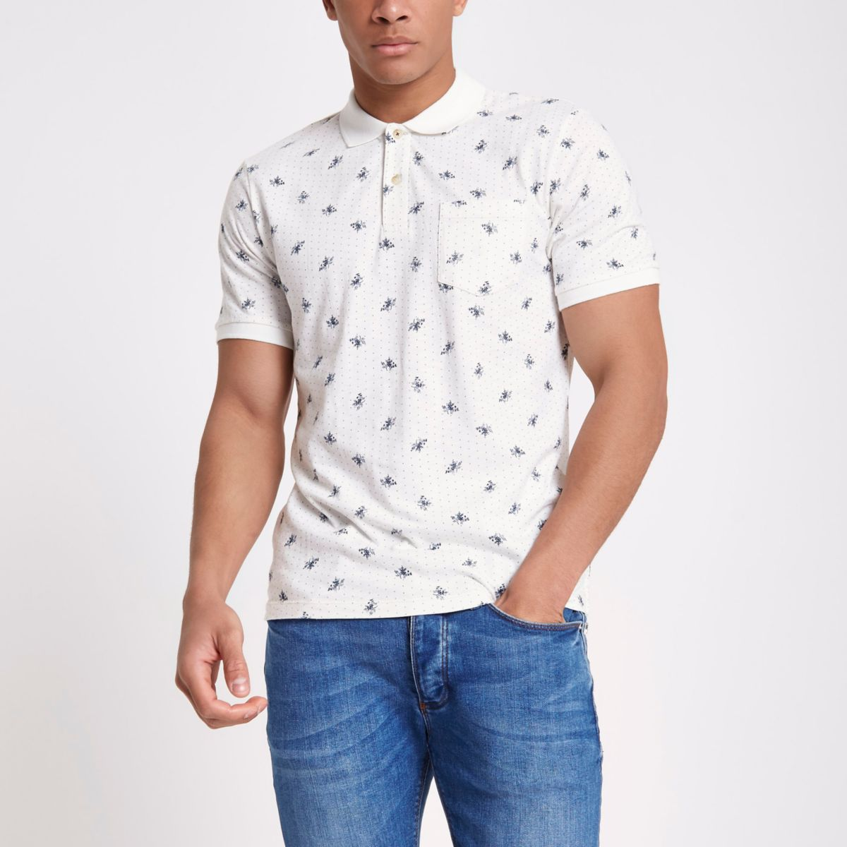 Jack & Jones white floral print polo shirt