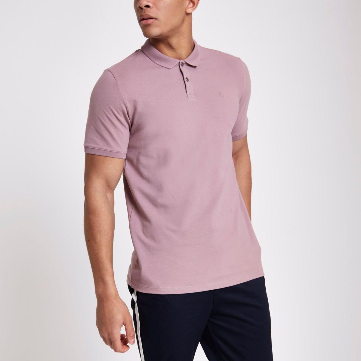 Jack & Jones Premium pink polo shirt