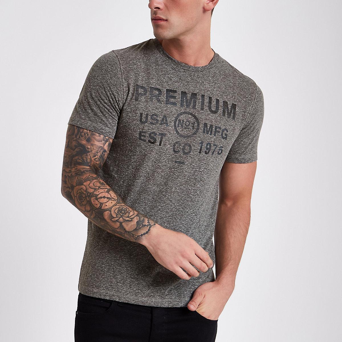 Jack & Jones Premium grey print T-shirt
