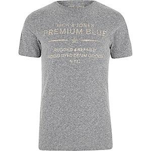 Jack & Jones – T-shirt gris imprimé «premium blue»
