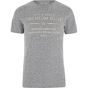 Jack & Jones - Grijs T-shirt met 'premium blue'-print