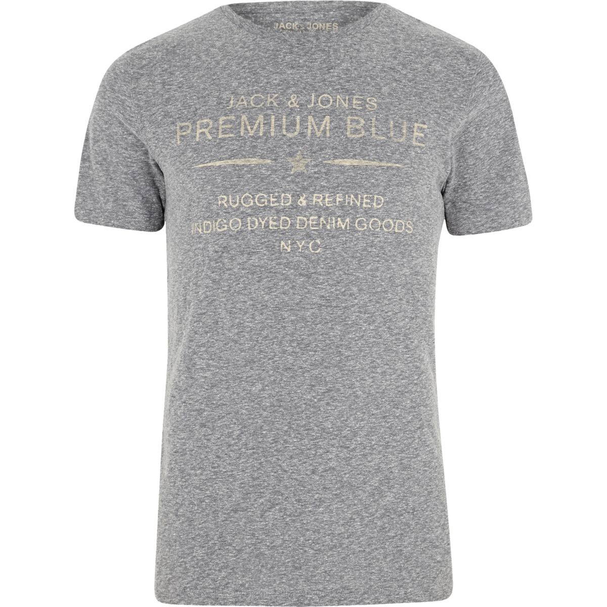 Jack & Jones grey 'premium blue' T-shirt