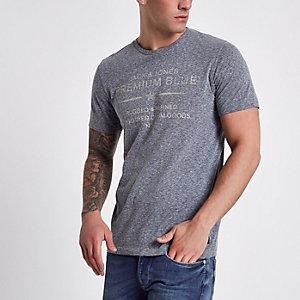 Jack & Jones – T-shirt à inscription « Premium blue » bleu marine chiné