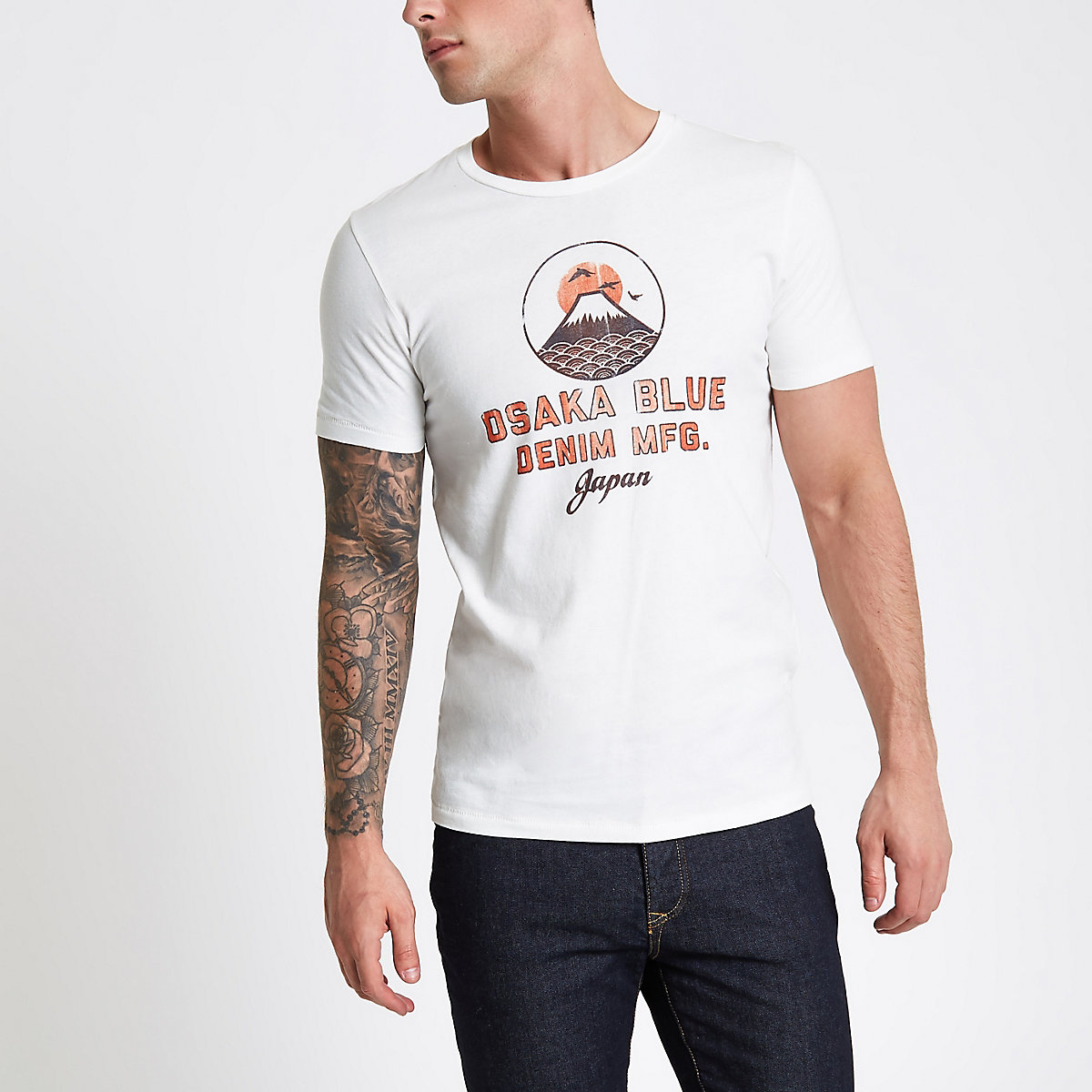 Jack & Jones white 'Osaka' print T-shirt